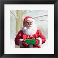 Framed Santa & Gift