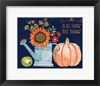 Framed October Garden II Blue