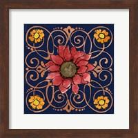 Framed October Garden VIII Blue