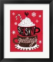 Framed Festive Holiday Cocoa Seasons Greetings