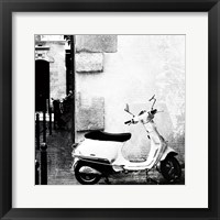 Framed Paris Vespa BW