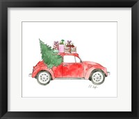 Framed Red Car with Presents