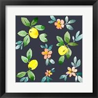 Framed Lemons - Navy
