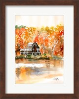 Framed Fall Cabin by the Lake