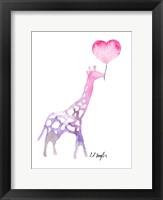 Framed Giraffe with Heart Balloon