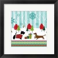 Framed Winter Pet Scene