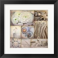 Framed Sepia Seaside Collage I