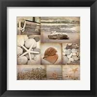 Framed Sepia Seaside Collage II