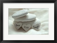 Framed Pebbles Hearts - Live, Laugh, Love
