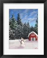 Framed Snowman and Red Barn