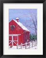 Framed Red Barn in Snow