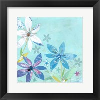 Framed Blue and White Florals