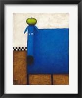 Framed Blue Dog With Apple