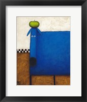 Framed Blue Dog With Apple