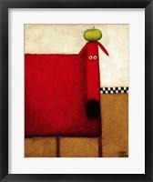 Framed Red Dog With Apple