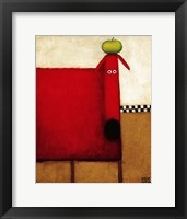 Framed Red Dog With Apple