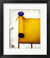 Framed Yellow Dog With Apple