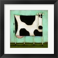 Framed Turquoise Cow