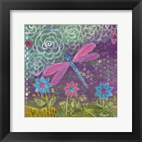 Framed Pink Dragonfly