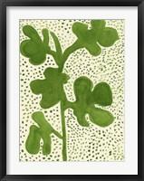Framed Green Leaf with Dots 1