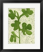 Framed Green Leaf with Dots 1