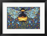 Framed Bee And Blue Birds