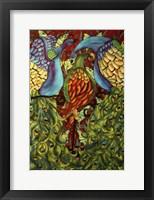 Framed Three Peacocks