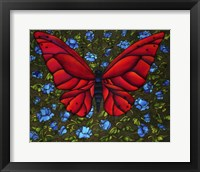 Framed Red On Blue Butterfly