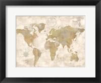 Framed Rustic World Map Cream No Words