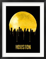 Framed Houston Skyline Yellow