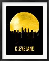 Framed Cleveland Skyline Yellow