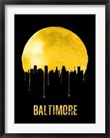 Framed Baltimore Skyline Yellow