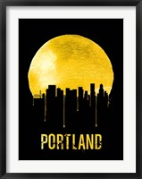 Framed Portland Skyline Yellow