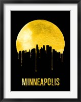 Framed Minneapolis Skyline Yellow