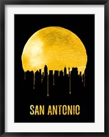 Framed San Antonio Skyline Yellow
