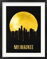 Framed Milwaukee Skyline Yellow