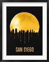 Framed San Diego Skyline Yellow
