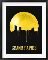 Framed Grand Rapids Skyline Yellow