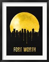 Framed Fort Worth Skyline Yellow