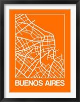 Framed Orange Map of Buenos Aires