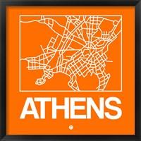 Framed Orange Map of Athens