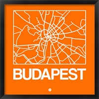 Framed Orange Map of Budapest
