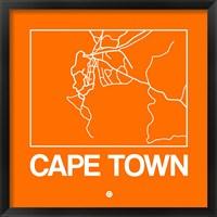 Framed Orange Map of Cape Town