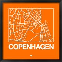 Framed Orange Map of Copenhagen
