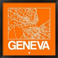 Framed Orange Map of Geneva