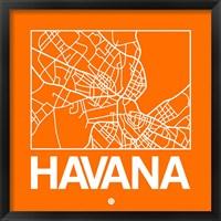 Framed Orange Map of Havana