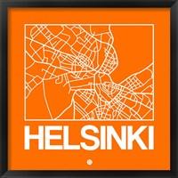 Framed Orange Map of Helsinki