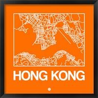 Framed Orange Map of Hong Kong