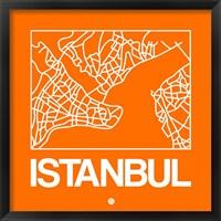 Framed Orange Map of Istanbul
