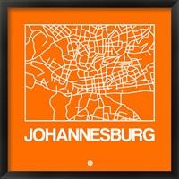 Framed Orange Map of Johannesburg